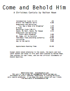 graphic about Free Printable Christmas Cantata referred to as Arrive and Behold Him, a Xmas Cantata Nathan Howe Audio